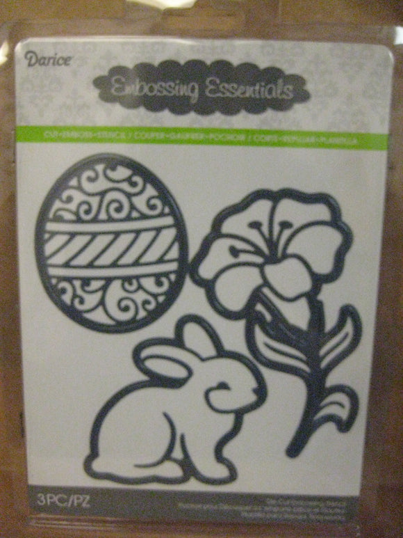 Darice Metal Die Assorted Easter Bunny, Lily, Egg | Emboss, Stencil, Cut Crafts Cards