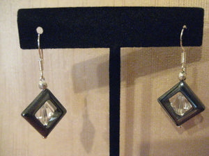Handmade Hematite & Swarovski Crystal Dangle Earrings
