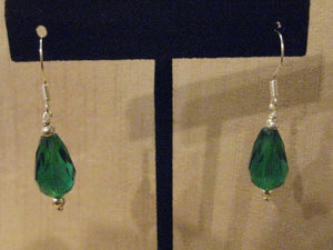 Handmade Sterling & Green Glass Briolette Cut Dangle Earrings