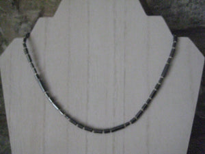 "Handmade Minimalist Hematite Bead Necklace 16"" Magnetic"