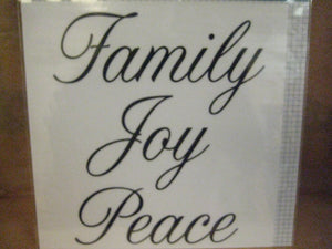 Darice Black Script Craft Decal - Family, Joy, Peace