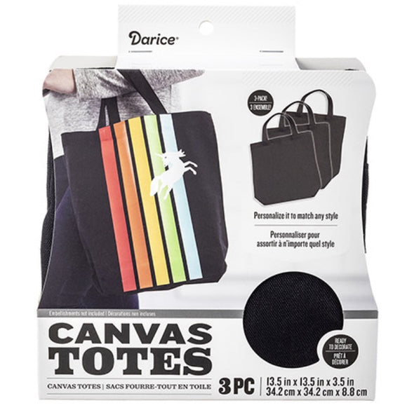 Darice Canvas Totes 3 Pack Black | Ready to Decorate