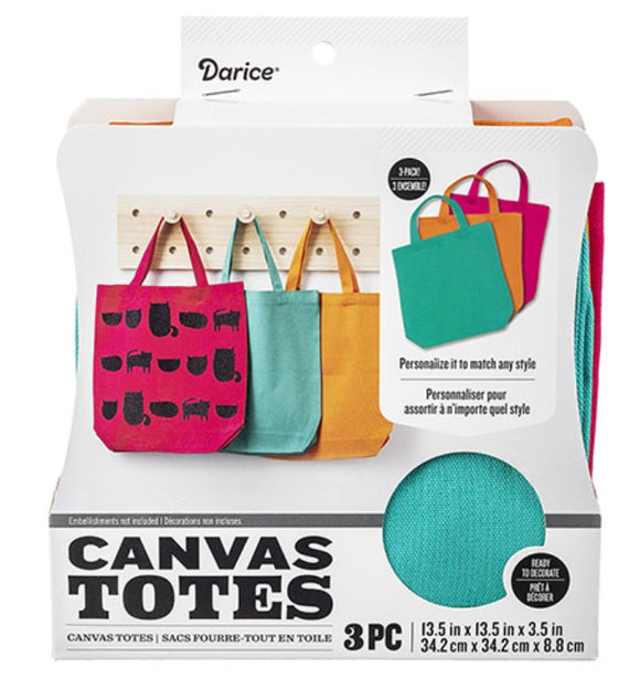 Darice Canvas Totes 3 Pack Bright Colors Ready to Decorate