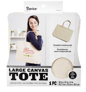 Darice Large Canvas Tote Natural | Ready to Decorate