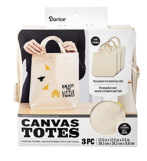 Darice Canvas Totes 3 Pack Natural | Ready to Decorate