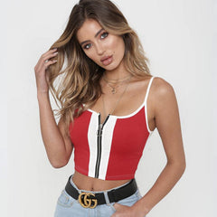 Striped Zipper Crop Top