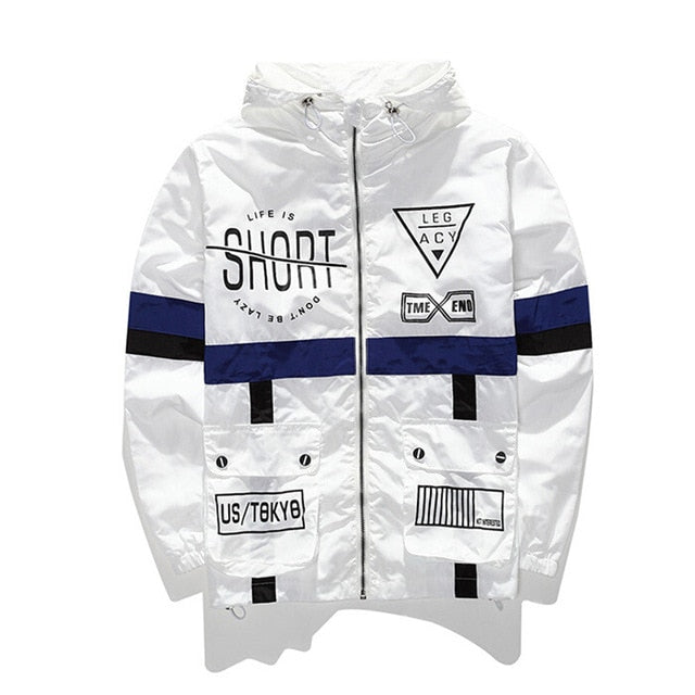 Text Print Windbreaker Jacket