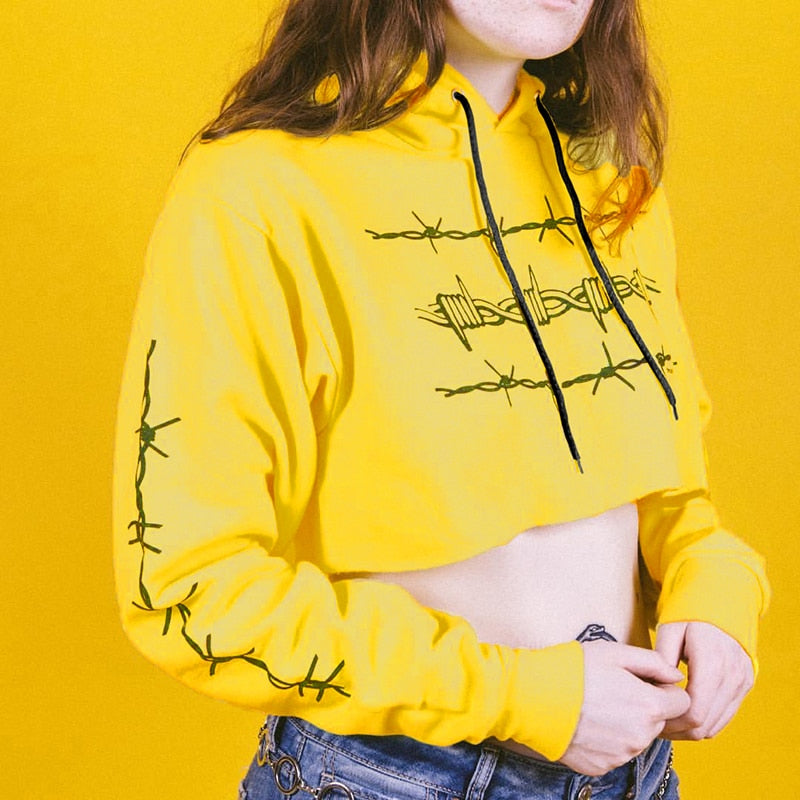 Fence Graphic Hooded Crop Top