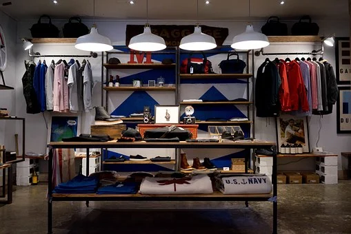 Apparel displayed neatly in a store