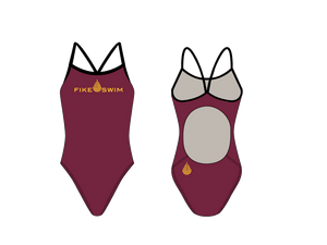 Fike Custom Maroon Gold Active Back Thin Strap Swimsuit