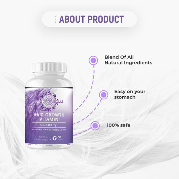 Hair Growth Vitamins With Biotin. Supplement For Women & Men. Faster Hair Growth, Reduce Loss Hair