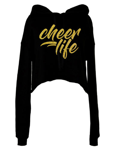 Cheer Life - BLACK CROPPED FLEECE HOODIE