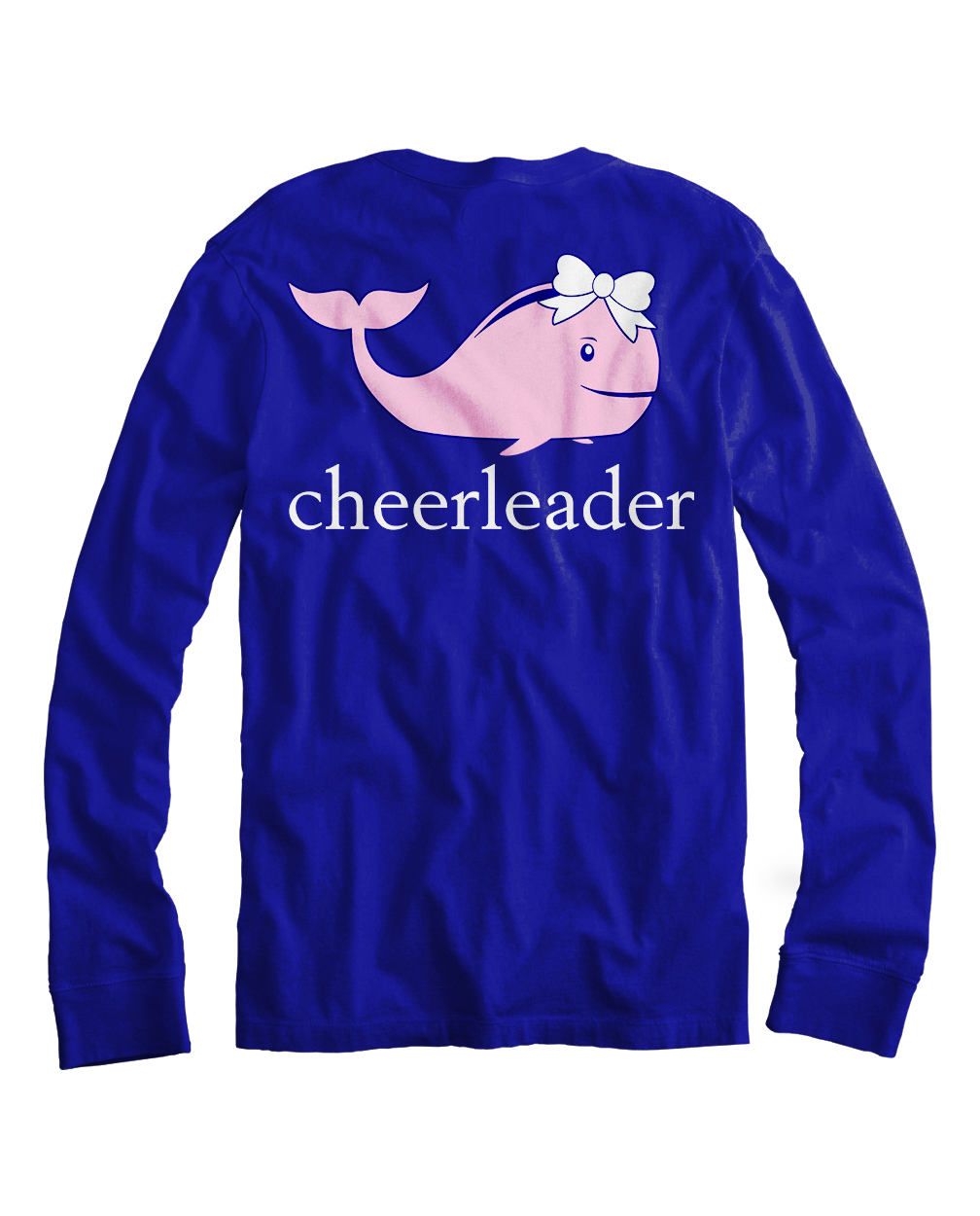 Cheering Whale in Long Sleeve Navy T-Shirt