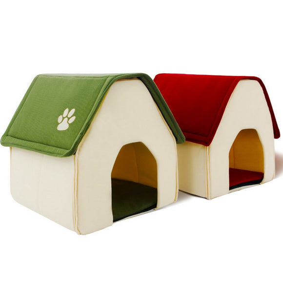 Indoor Dog House For Small Dogs Bed Soft Daily Products For Pets Dog Cat House Warm Kennel Folding Pet Beds Home Shape 2 Colors