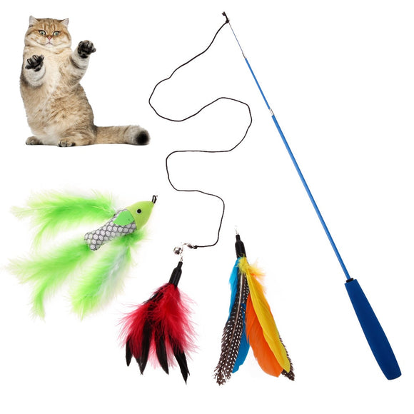 1Pc Cat Teaser Retractable Cat Stick + 3pcs Replaceable Feather Head Wand Toys for Cat Kitten Interactive Toy Pet Products