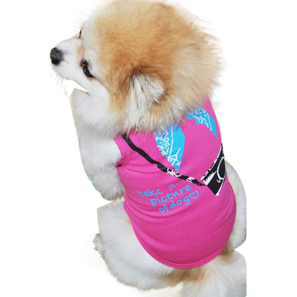 2017 New Hot Selling 3 Colors Small Sleeveless Camera dogs pets clothing  Printing Pet Dog T-shirt Vest products for dogs