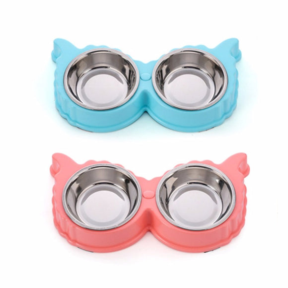 2 Colors Sheep Shape Case Pet Products Feeding Tool Non-toxic PP Resin Stainless Steel Combo Dog Bowl Anti-skid Double Pet Bowl