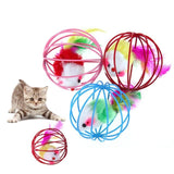 6.5cm Pet Cat Toy Funny Feather Mouse Mice Ball Cage Toy for Cat Kitten Interactive Playing Toys Pet Cat Products