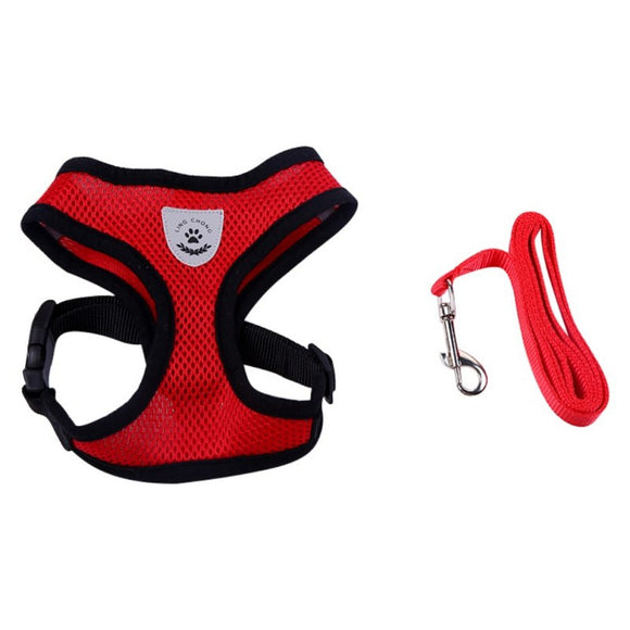 Dog Breathable mesh vest Harness-Collar With Leash Leads