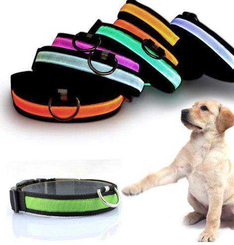 2017 New Nylon LED Dog Collar w/ Night Safety Anti-lost Flashing 7 colors S M L XL Size