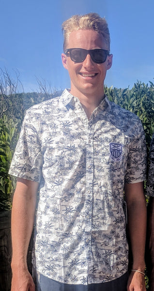 XMAS SALE Long Reef Okanui Party Shirt - White with navy LAST ONES SMALL ONLY