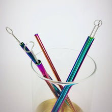 "Load image into Gallery viewer, Reusable 7"" Rainbow stainless steel straw"