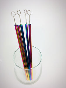 "Reusable 7"" Rainbow stainless steel straw"