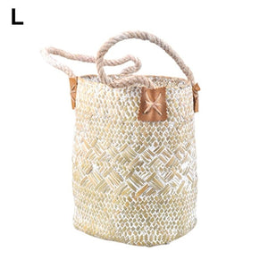 Natural Straw Shopping Basket