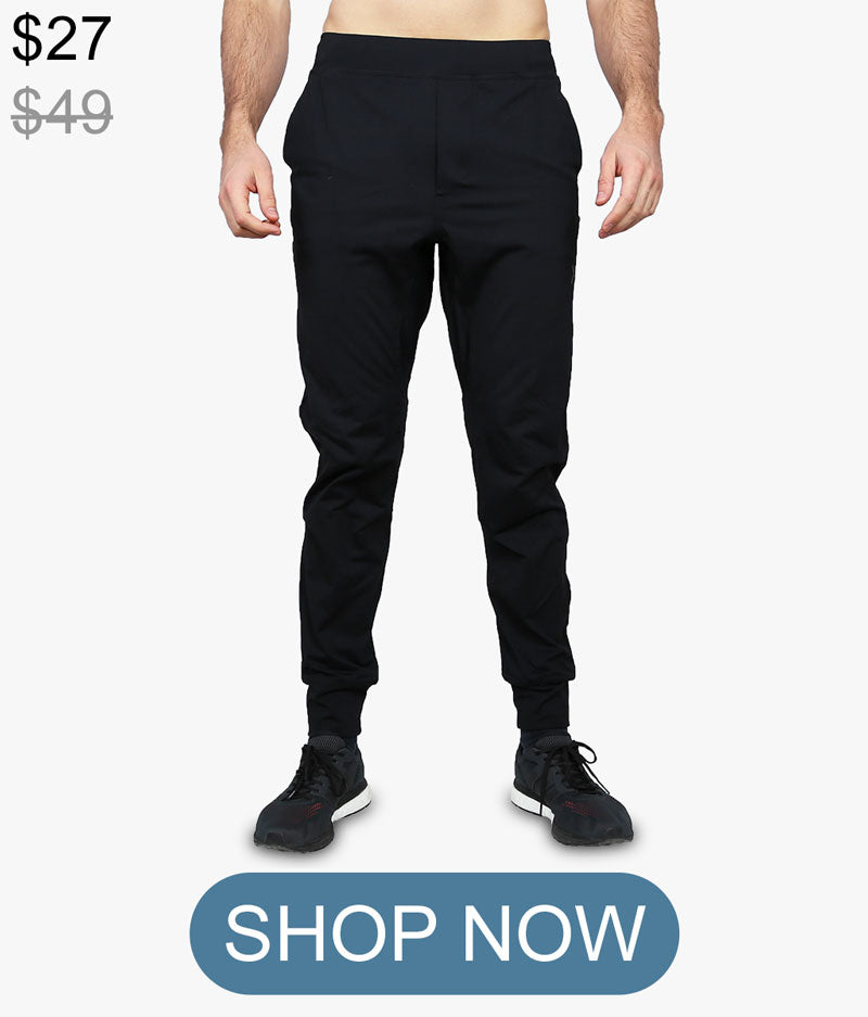 Black slim fit joggers sweatpants gym workout Yoked Apparel