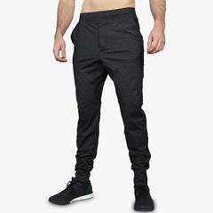 Grey heathered slim fit joggers tapered YA logo Yoked Apparel