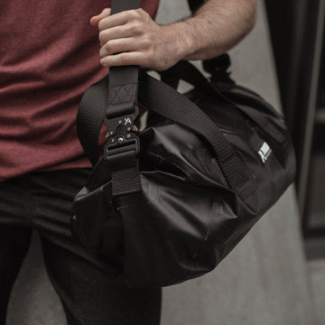Black Waterproof Duffel Gym Bag Yoked Apparel