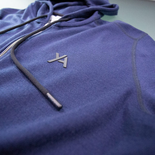 Navy Blue Hoodie Merino Wool Slim Fit logo Yoked Apparel