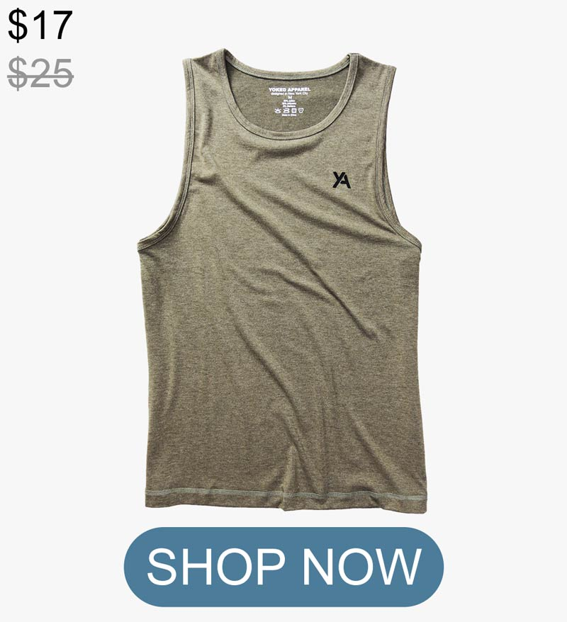 Olive green Tank Top mens muscle fit slim Yoked Apparel