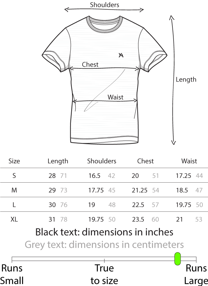Size chart Yoked Apparel muscle fit T-shirt v7