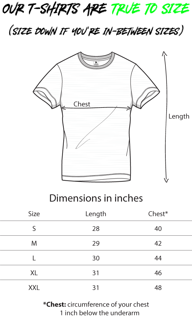 Size chart Yoked Apparel muscle fit T-shirt v9