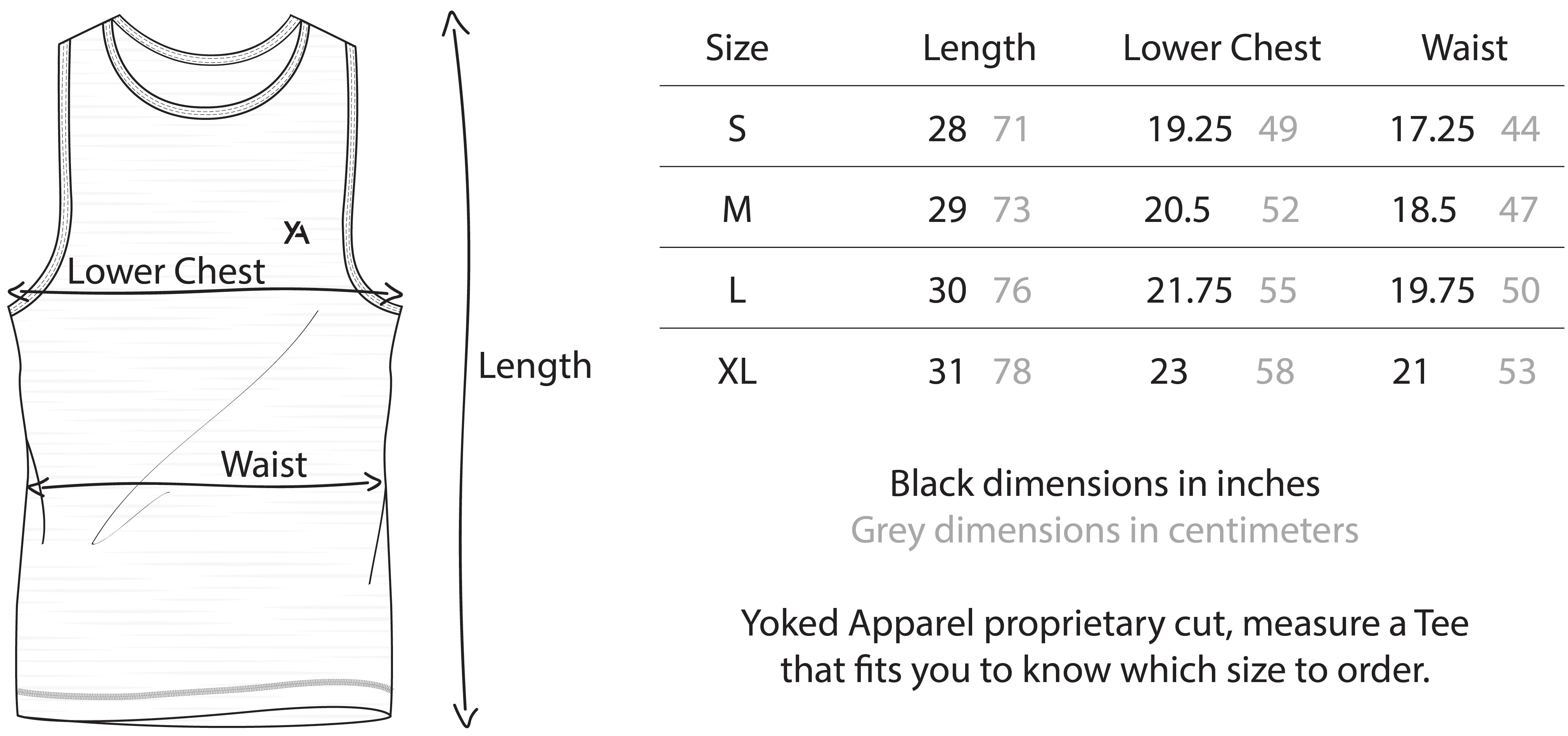 Yoked Apparel muscle fit tank top sizing chart