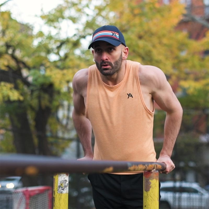 Tompkins square park workout dips Yoked Apparel