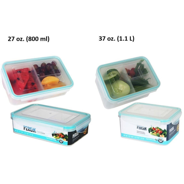 Bento Box for Kids and Adult Clear Lunch Box - 2 Sizes, 37 oz. (1.1 L), 27 oz. (800 ml), Small Food Containers with Compartments, 3 Divided Removable Sections, Portion Control, BPA free, Reusable