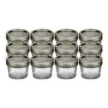Load image into Gallery viewer, Ball 4-Ounce Quilted Crystal Jelly Jars with Lids and Bands, Set of 12, + Sip and Straw Lids