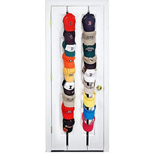 Load image into Gallery viewer, Perfect Curve CapRack18 Over-The-Door Cap Organizer, Two Straps, Holds Up To 18 Caps, Black