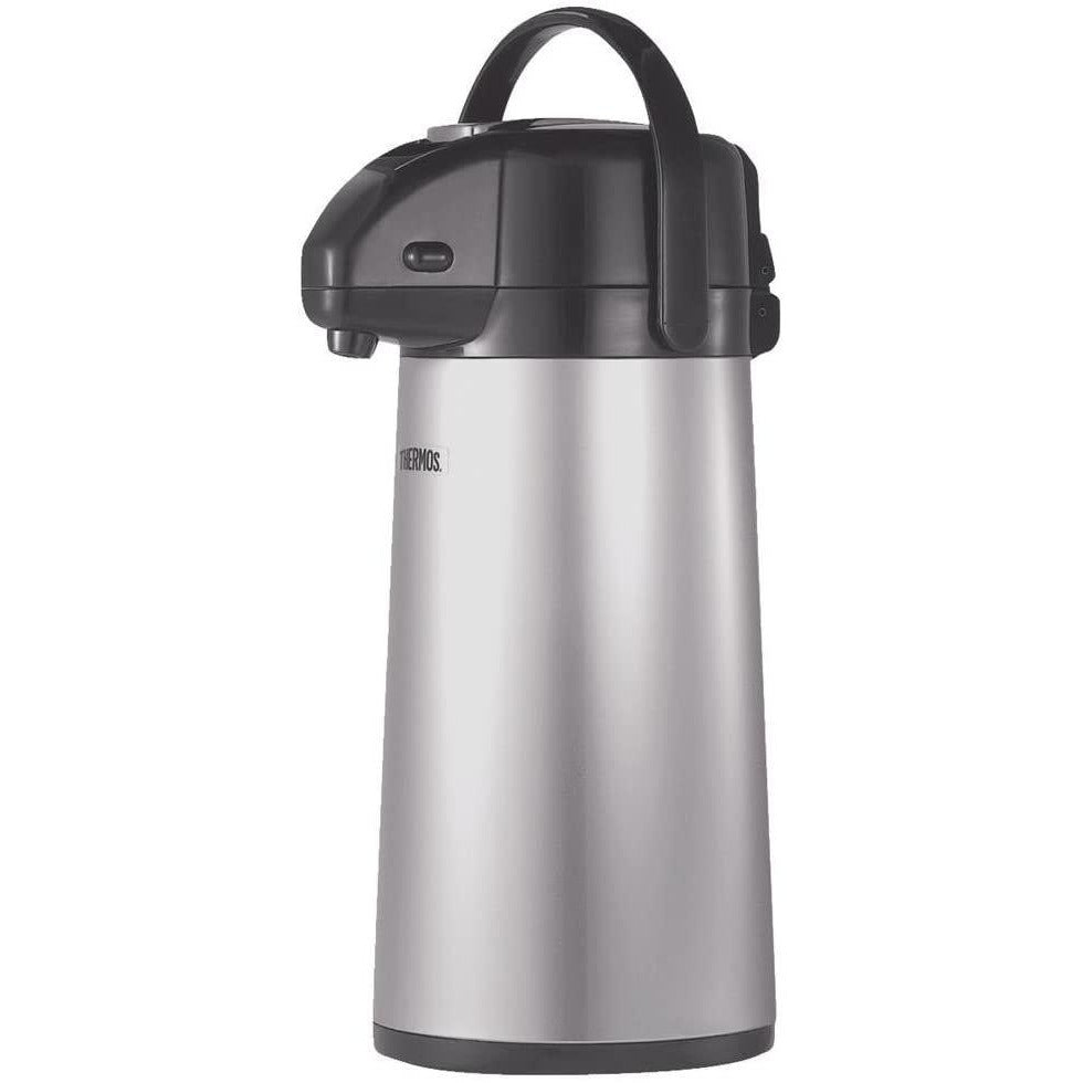 Thermos Glass Vacuum Insulated 2 Quart Pump Pot, Metallic Gray
