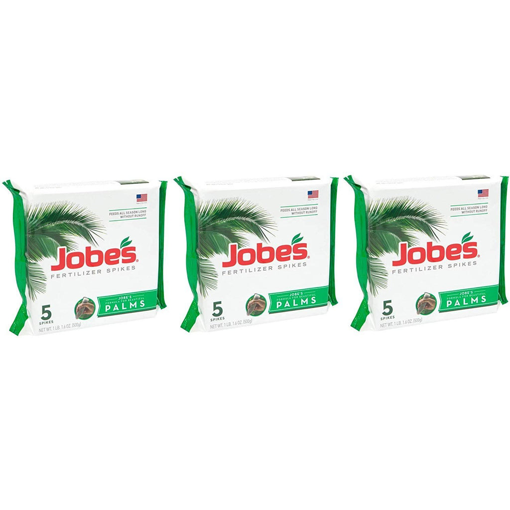 Jobe's Palm Tree Fertilizer Spikes 10-5-10 Time Release Fertilizer for All Outdoor Palm Trees, 5 Spikes per Package (3)