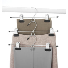 Load image into Gallery viewer, Whitmor Chrome/Black Add on Skirt & Slack Hangers, Chrome & Black