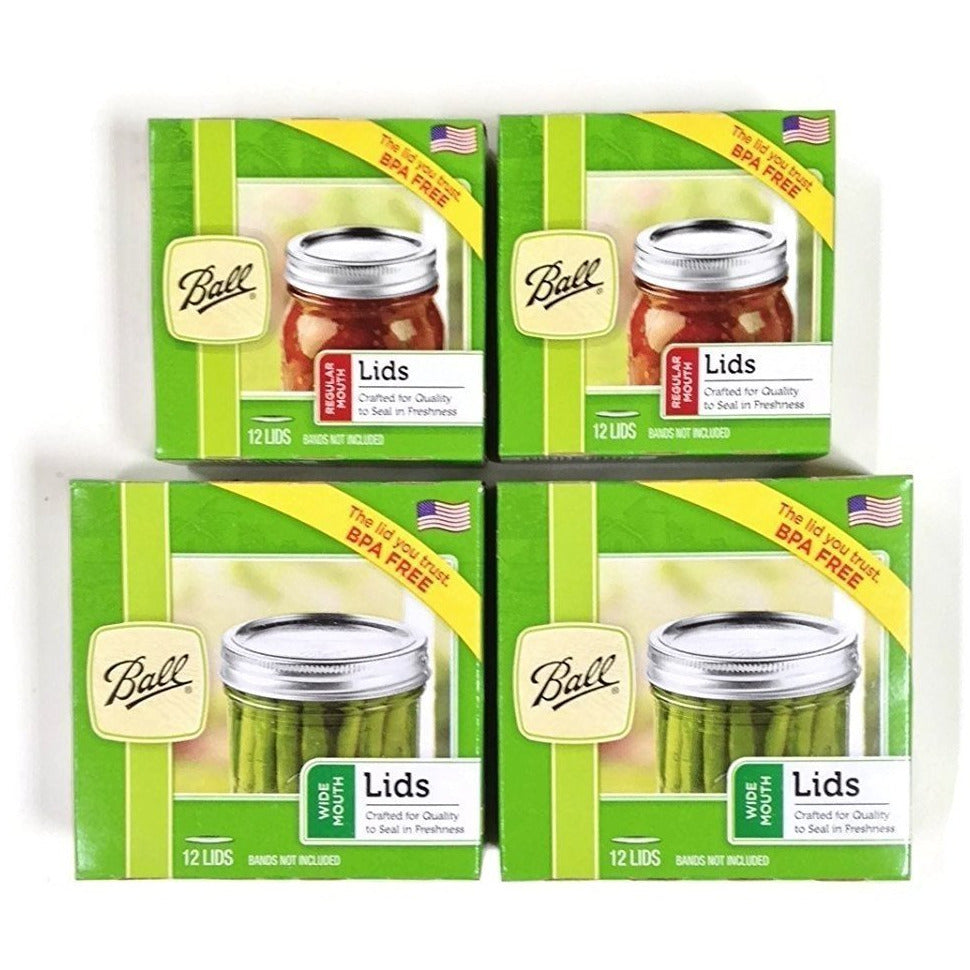 Canning Lids Set of Regular Mouth and Wide Mouth Jar Lids, 2 Packs of each (4 Total)