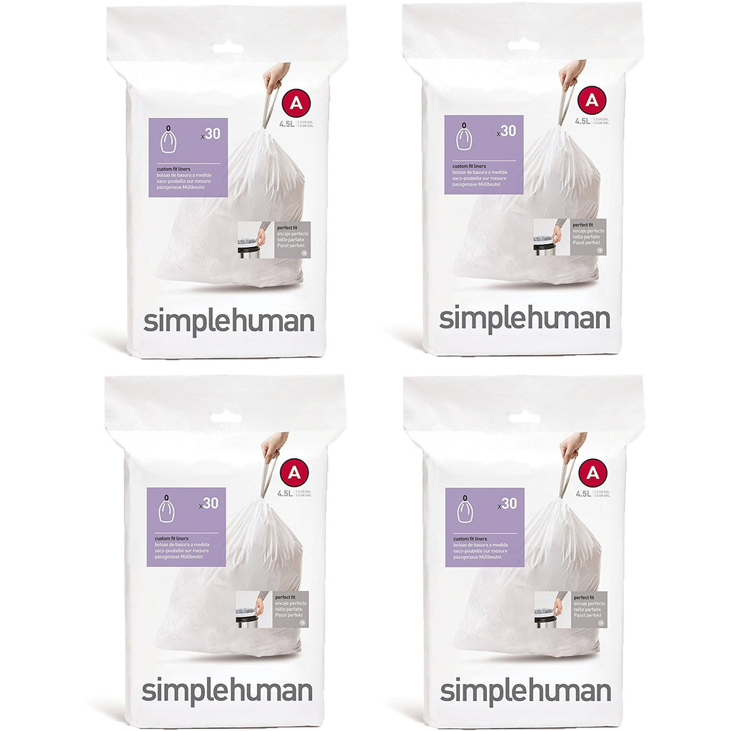 simplehuman Custom Fit Trash Can Liner A, 4.5 Liters / 1.2 Gallons, 30-Count...