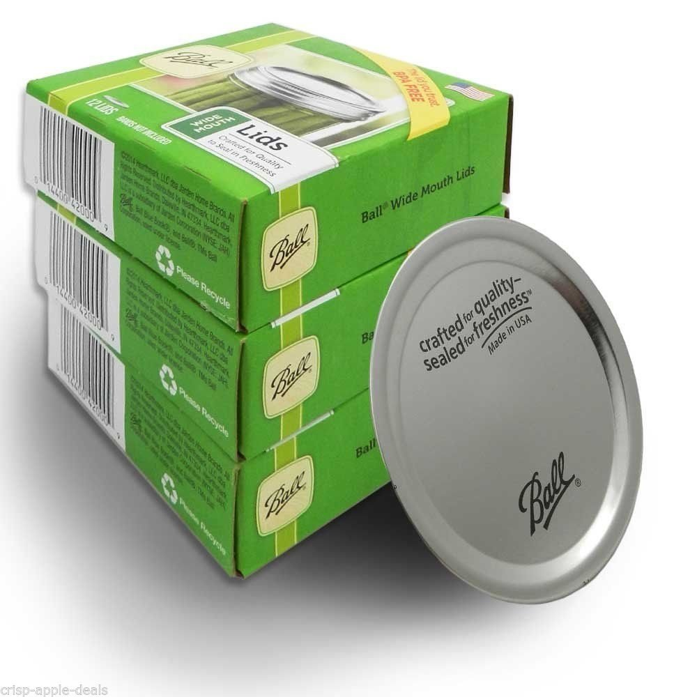 Ball Wide Mouth Dome Lids, 12 per Box - Pack of 4 (48 Lids Total)
