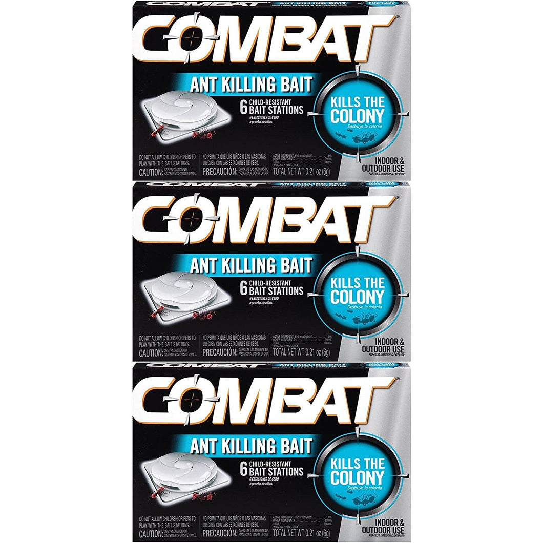 Combat 023400459018 Ant Killing Bait Stations, 6 Count (3 Pack)