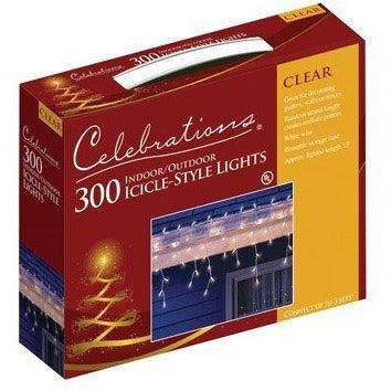 Celebrations Mini Icicle Lights 300 Lights Clear Bulbs 13' White Cord