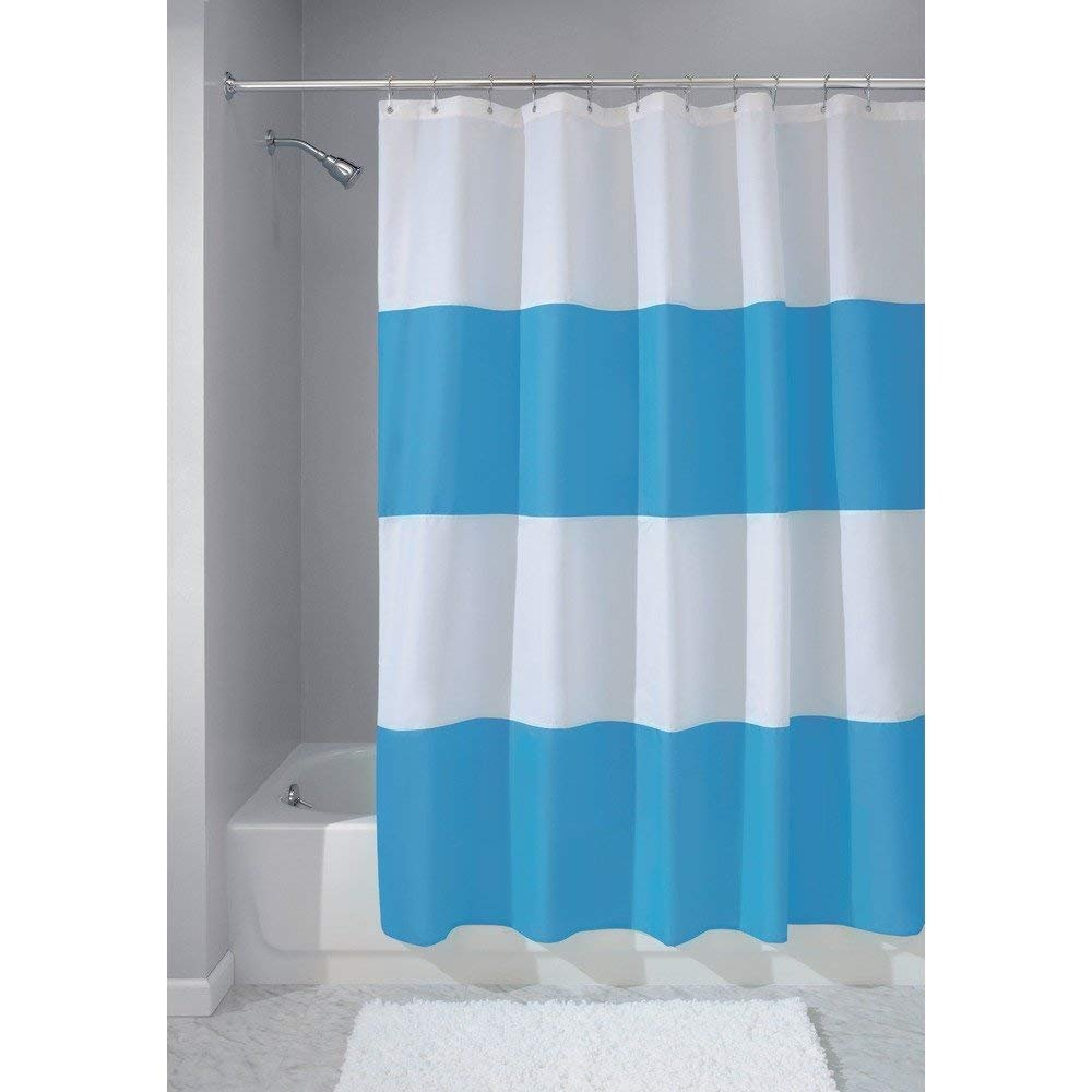 InterDesign Mildew-Free Water-Repellent Zeno Fabric Shower Curtain, 72-Inch by 72-Inch, Azure/White
