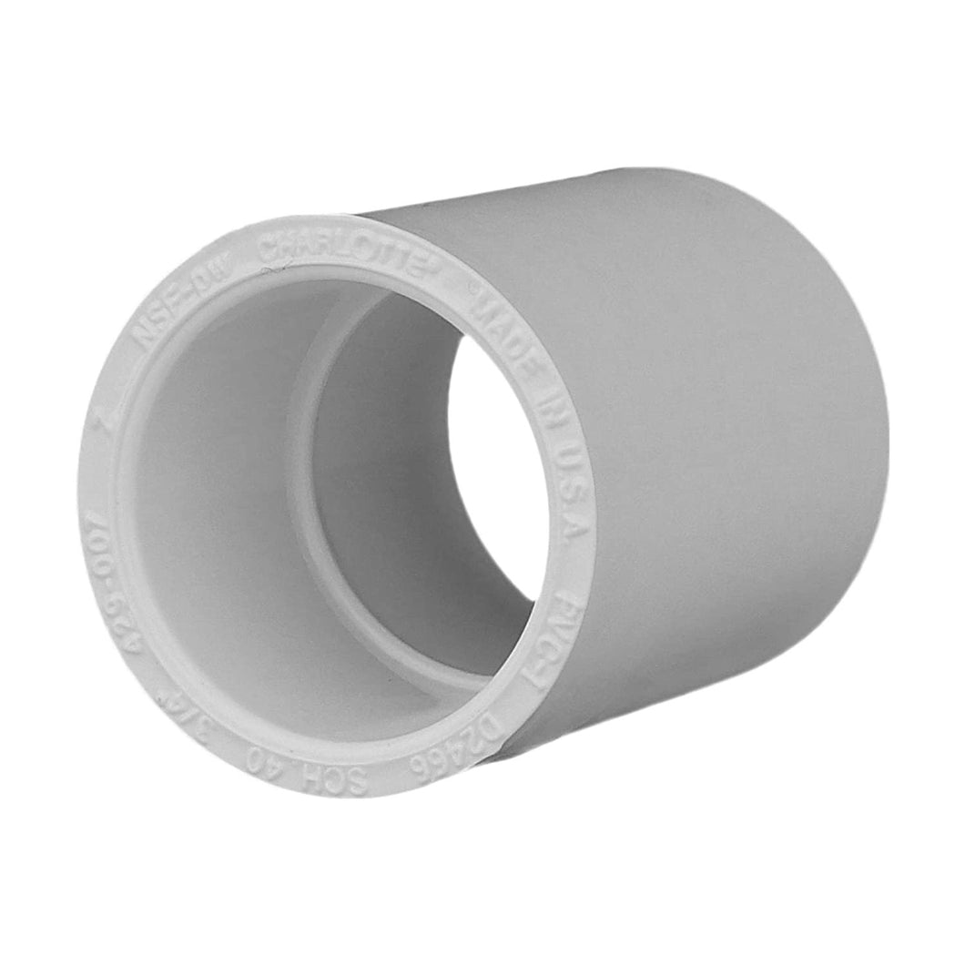 Charlotte Pipe Coupling Pipe Fitting - (Socket x Socket) Contractor Pack Schedule 40 PVC Pressure Durable, Easy to Install, High Tensile and Sound Deadening for Home or Industrial Use